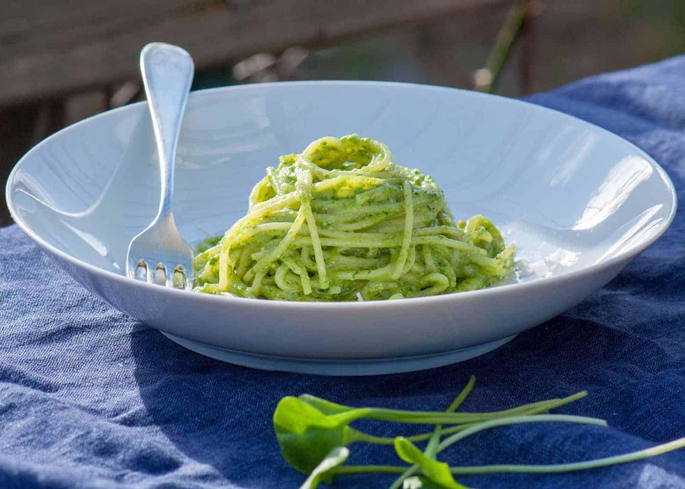 Spaghetti Pesto Portulak