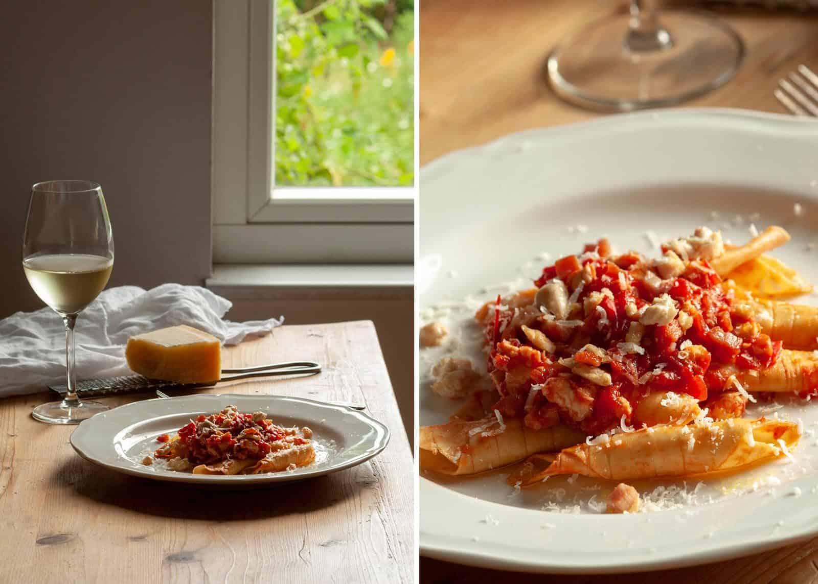 garganelli with chicken breast ragout- recipe