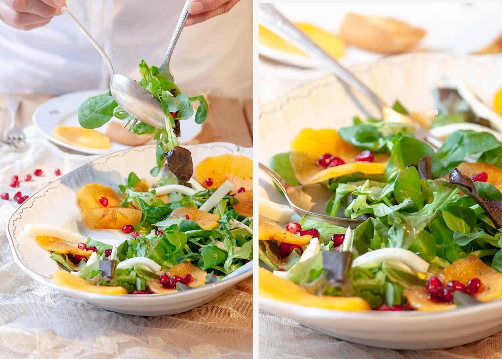 Kaki, Granatapfel, Rucola und Ziegenkäse Salat