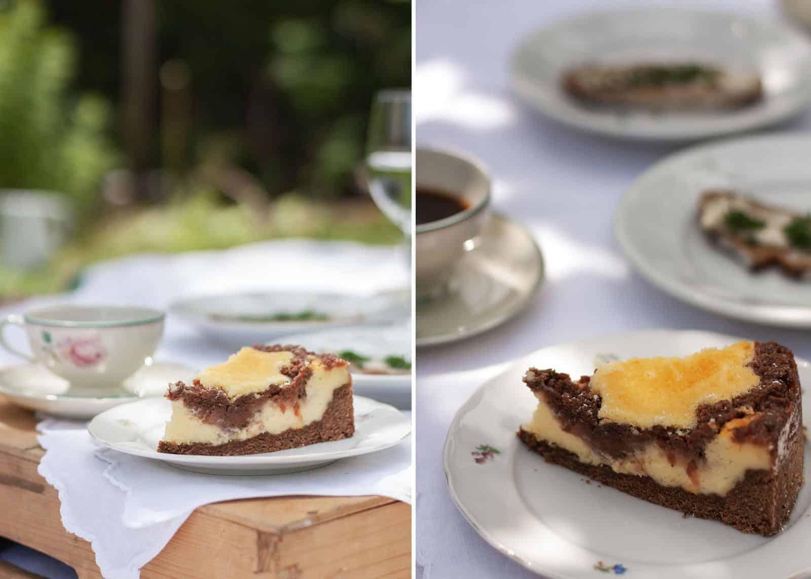 Cheesecake rabarbaro, lamponi e sbriciolata di cioccolato