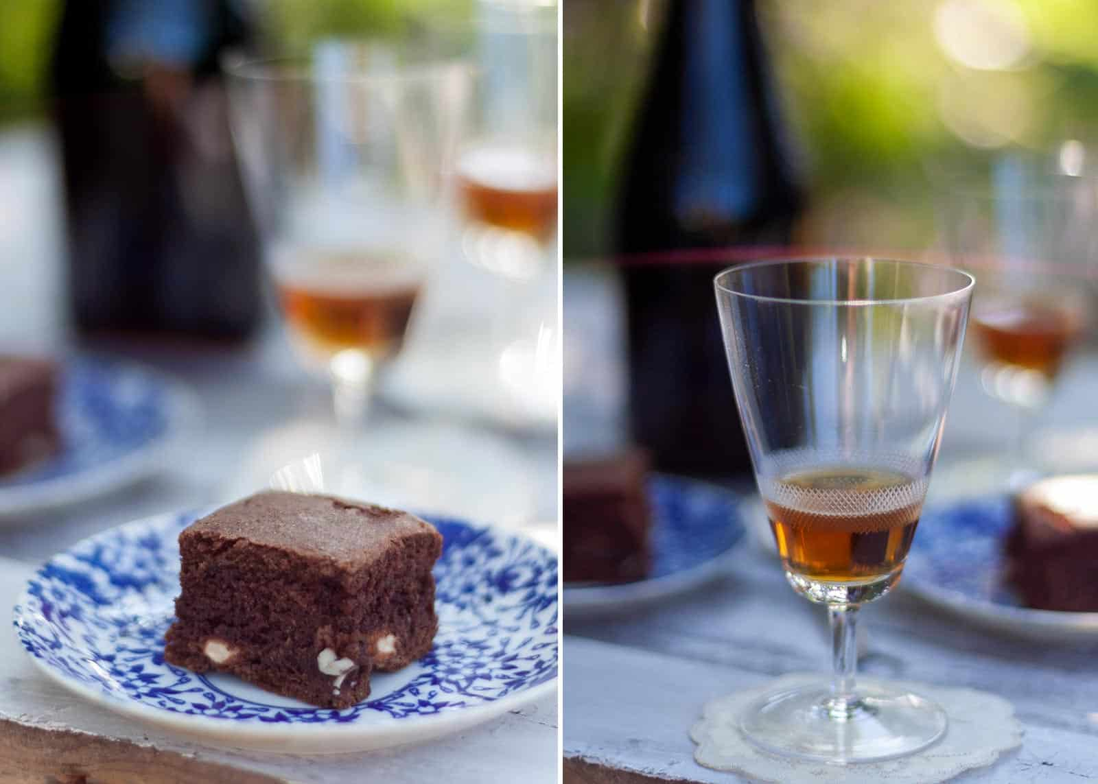 Sweet seduction in Italian. cake and wine