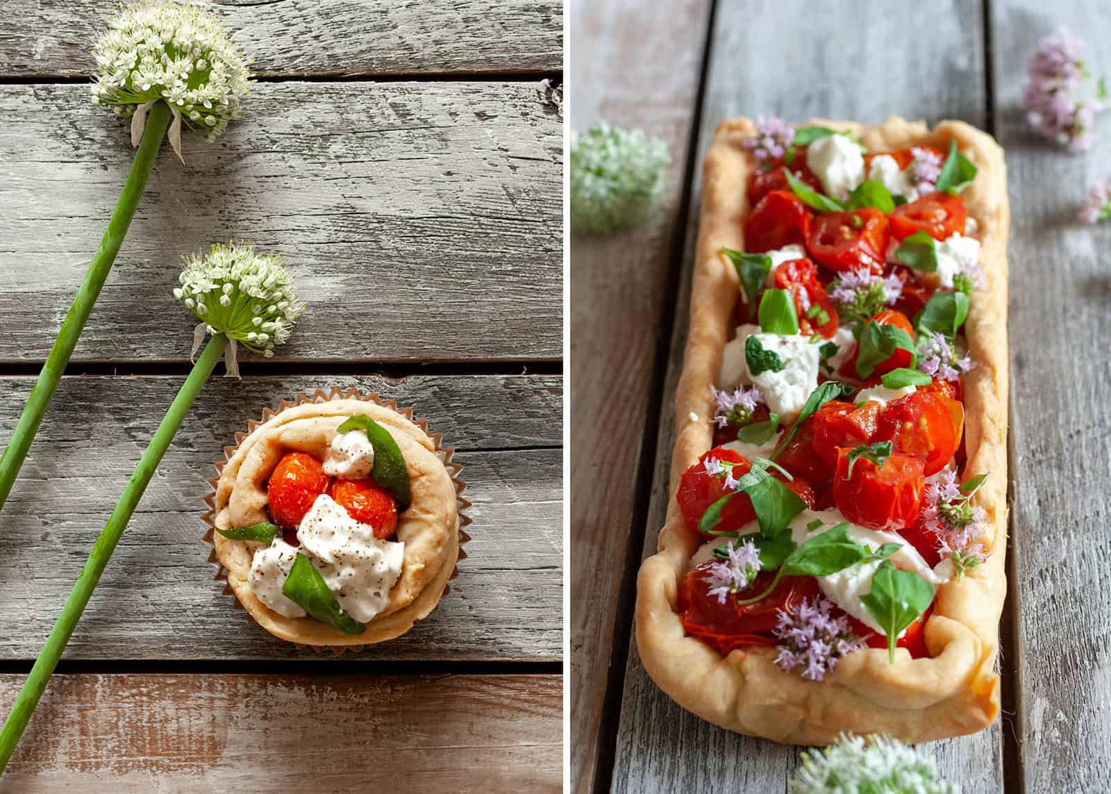 Tart with buffalo mozzarella