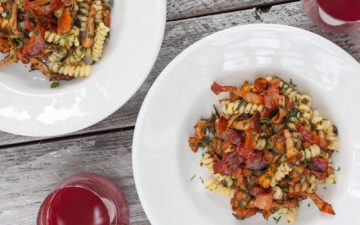 Fusilli with chanterelles and bacon recipe