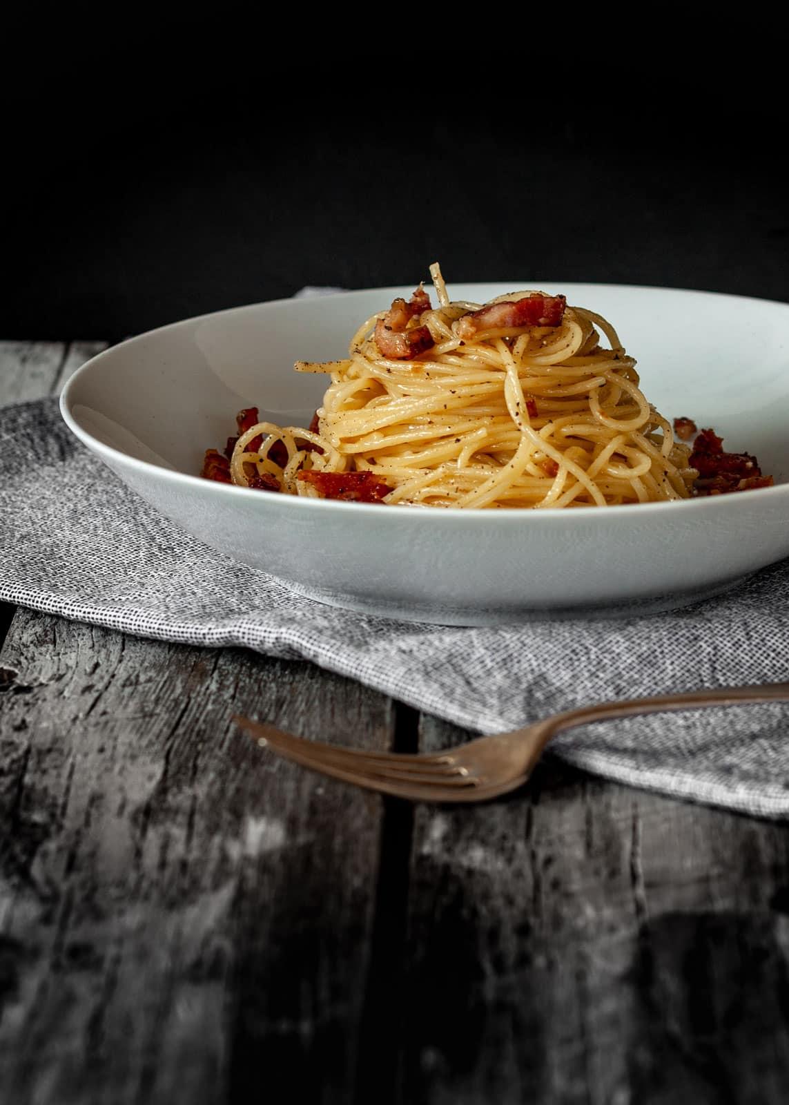 Speck, Pecorino und Pfeffer : Spaghetti alla Gricia